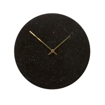 Wanduhr aus Marmor – schwarz / gold