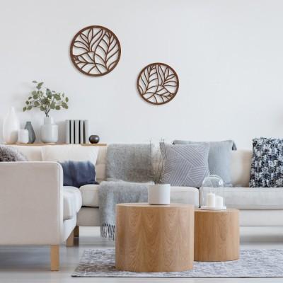 2x Florale Fensterdeko Elemente aus Holz - Blüten & Blätter als Wanddekoration