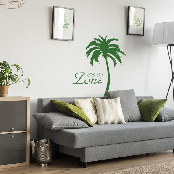 Wandtattoo | Chill Out Zone | Beauty Wellness Palme Wandspruch Kosmetik Salon