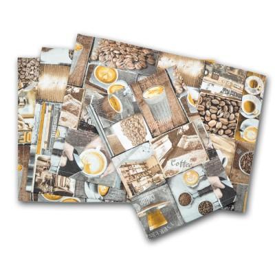 Platzset mit verschiedenen Kaffee-Motiven – Tischset als Collage im Retro-Stil