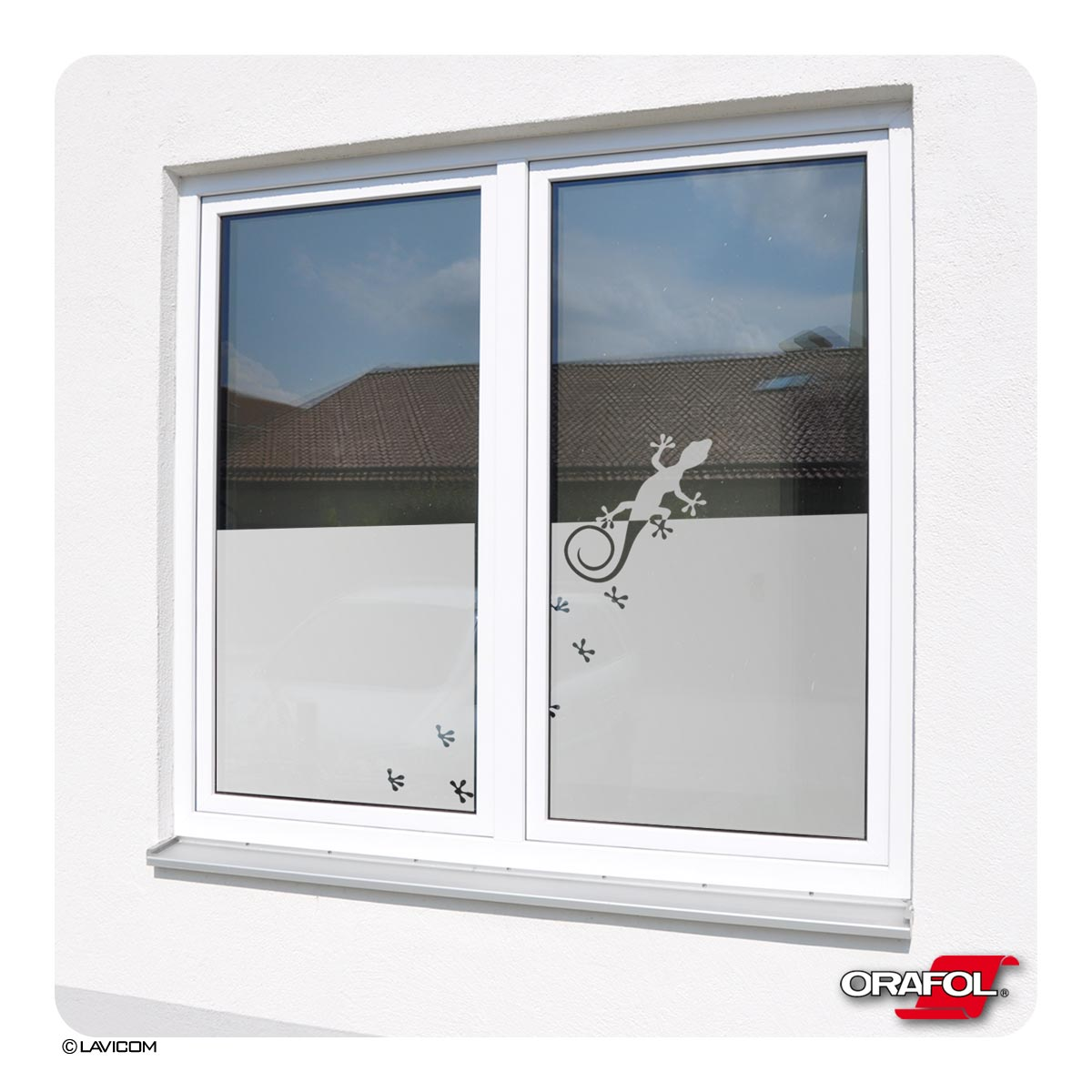 Gecko glasdekorfolie satiniert sonnenschutz fensterbild blickdicht sichtschutz folienkreativ - Fensterfolie mit motiv ...