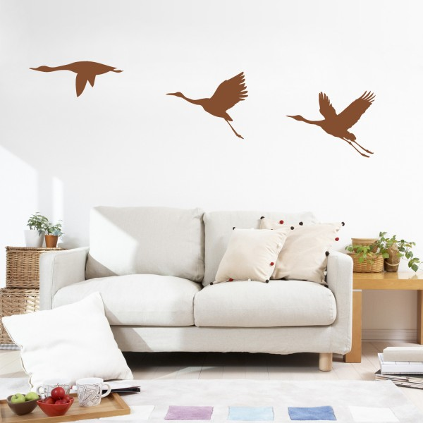 Wandsticker ~ Zugvögel ~ Kraniche Wanddekoration Natur Wandtattoo Wandaufkleber
