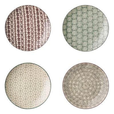 Bloomingville | Karine Kuchenteller Plate Set Früchstücksteller Set - unterschiedliche Muster, 4er Set