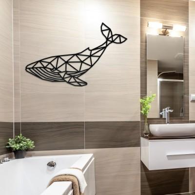 Walfisch Polygon Geweih 3D Wanddekoration – schwarz