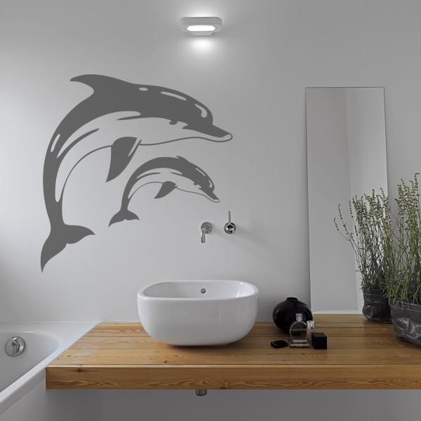 Wandtattoo [Springende Delfine] Wellness Oase Badezimmer Dekoration Tiere Wale