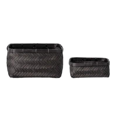 2x Korb aus schwarzem Bambus, geflochten - Aufbewahrungskorb für Badezimmer & WC