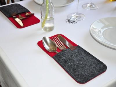 Bestecktaschen Filz Tischdekoration Tisch-Set