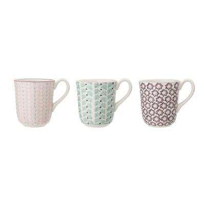 Bloomingville | Tassen Maya Mug Becher – 3er Set, Muster- & Farbenmix
