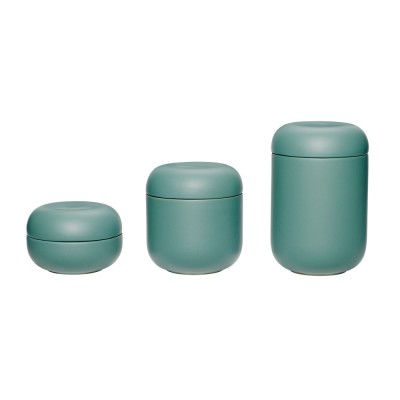 Keramikdose mit Deckel grün - 3-er Set