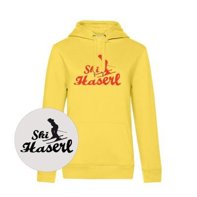 Damen Kapuzen-Sweatshirt Hoodie Skihaserl - yellow fizz