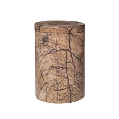 Runde Dose mit Deckel aus braunem Marmor