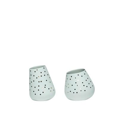 Teelichthalter mit Punkten, Porzellan, grün/gold, 2er Set