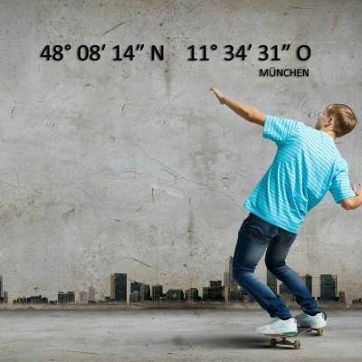 Wanddekoration mit Koordinaten Deiner Stadt