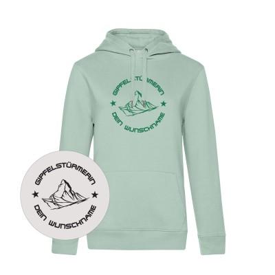Damen Hoodie Kapuzen-Sweatshirt Gipfelstürmerin - aqua green