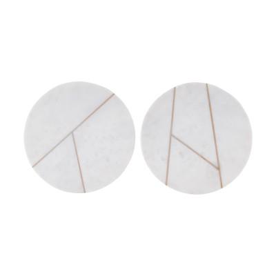 House Doctor | Platte Marble Teller Servierplatte Tischdekoration – weißer Marmor