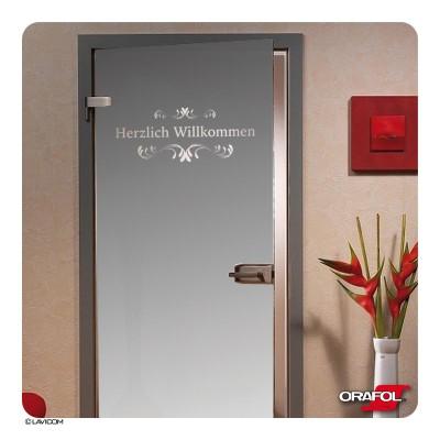 """Glasdekorfolie Tür """"Herzlich Willkommen"""" + Maßanfertigung"""