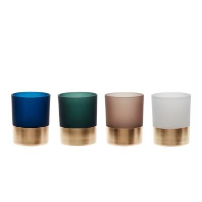 Teelichtsglas, Messingboden, Grün/Weiß/Blau/Braun,4er Set