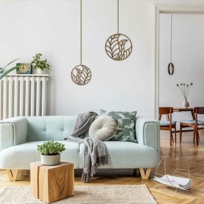 Wanddekoration aus Holz in floralem Design