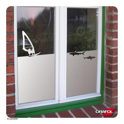 Fensterfolie [Surfer & Hai] Sichtschutzfolie Glasdekorfolie blickdicht Sandstrahloptik