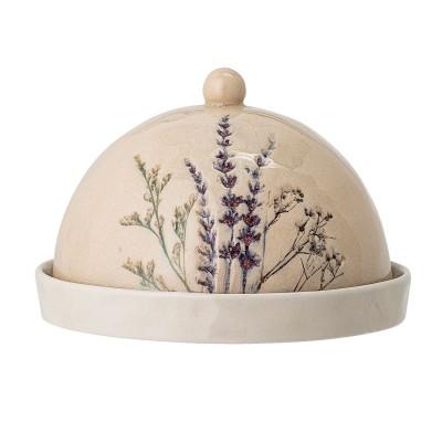 Bloomingville | Butterglocke mit eingearbeitetem Gräser-Motiv, Ø 15cm - Butter & Käseglocke