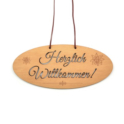 Türschild [Herzlich Willkommen] Eingang Wirtshaus Edelweiss Hütt'n Style Holz