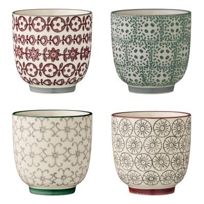 Bloomingville | XS Becher Karine Cup - mehrfarbig, verschiedene Muster, 4er Set