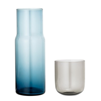 Karaffe mit Glas | Decanter & Glass | Dekanter Krug Glas – blau / grau