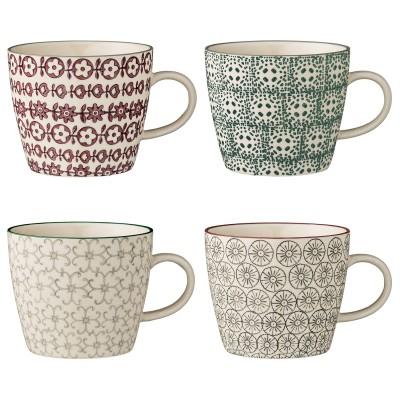 Bloomingville | Becher Karine Tassen Mug 4er Set - unterschiedliche Farben und Designs