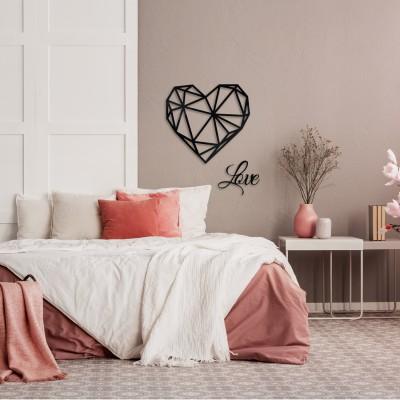 Wanddekoration Herz mit Schriftzug Love Geschenk Hochzeit 3D Polygon Deco