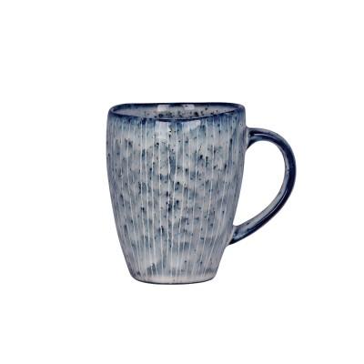 Rustikales Geschirr aus Steinzeug, blau - Frühstückteller, Tassen & Müslischalen