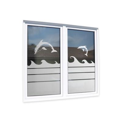Sichtschutzfolie Glasdekorfolie [Wellen & Delfin] Fensterfolie