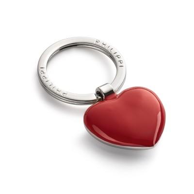 Schlüsselanhänger in Herzform rot lackiert