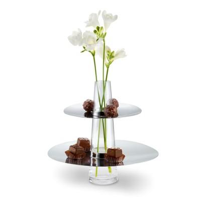 Etagere aus Glas und Edelstahl als Blumenvase