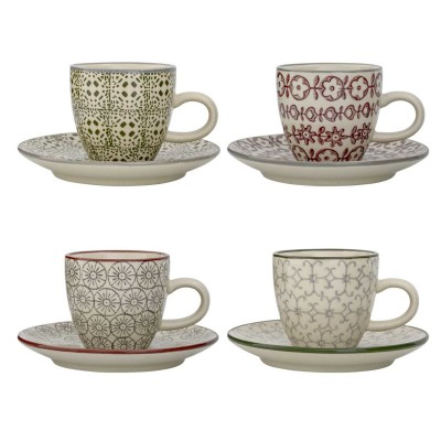 Bloomingville | Espressotasse & Untertasse Karine Espresso Cup & Saucer - Farben & Muster Mix, 4er Sety