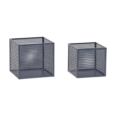 Aufbewahrungsbox aus Metall grau - 2er Set