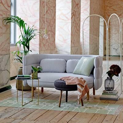 Sofakissen in Leinenoptik & Palmenmotiv in Gold - Stimmungsbild