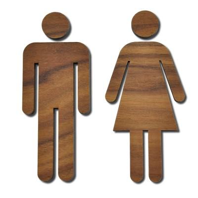 WC Schild Toilettenschild Toilette Türschild Damen Herren - Walnuß