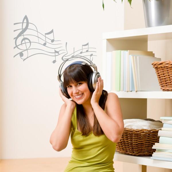 Wandtattoo | Notenleiter | Musik | Melodie | Sticker | Aufkleber | Sound | Ton