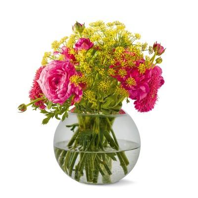 Philippi   Runde Blumenvase GLOBO Glas rund - mundgeblasen - rauchgrau
