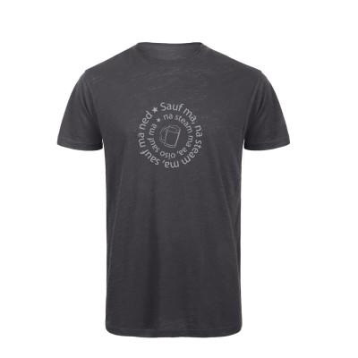 Herren T-Shirt Organic Sauf ma, na steam ma - anthracite