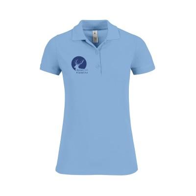 Damen Poloshirt mit Ihrem Logo Firmennamen Berufskleidung - sky blue