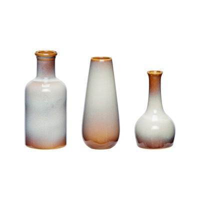 Vase, Keramik, weiß/braun, 3er Set