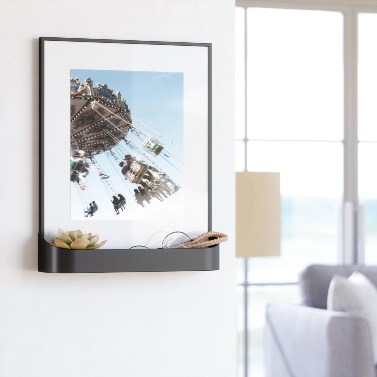 Bilderrahmen mit Passepartout & praktischer Ablage - Fotorahmen mit Ablagefach