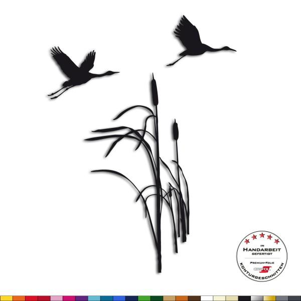 Wandtattoo - Schilfgras mit Zugvögeln - Wandsticker Tiere Wandsticker
