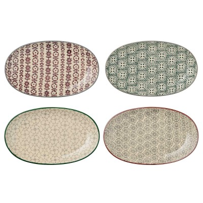 Bloomingville | Servierteller Teller Beilagenteller Karine Plate – oval, 4er Set