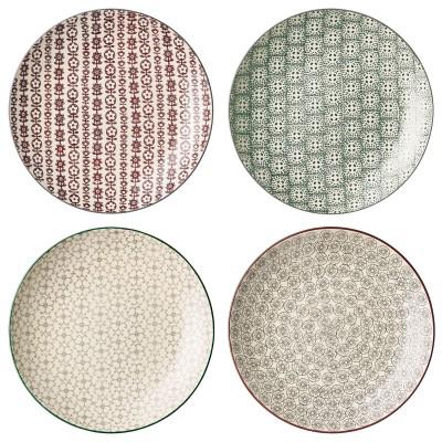 """4tlg. Teller Set """"Karine"""" Plate - mehrfarbig mit verschiedenen Mustern"""