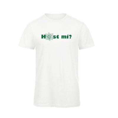 "Herren T-Shirt Organic ""Host mi?"" - weiß / grün"