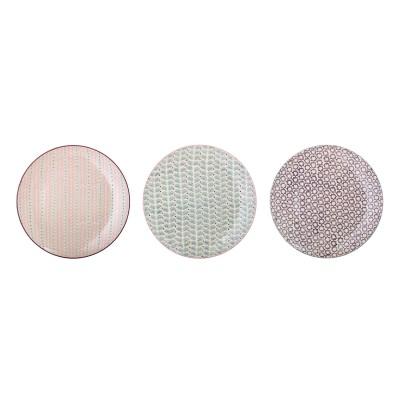 Bloomingville | Platzteller Maya Speiseteller Plate Teller Servierteller – mehrfarbig, 3er Set