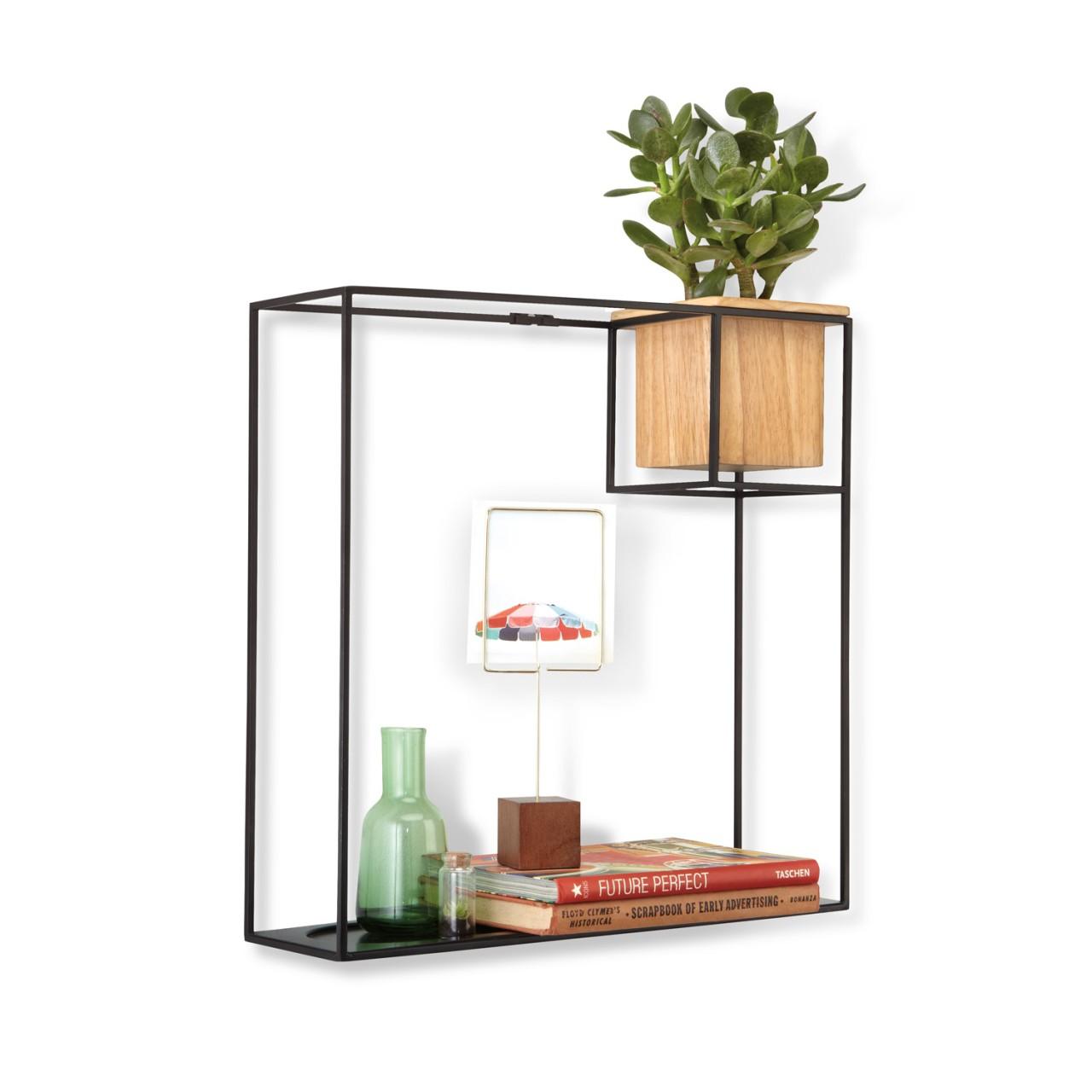 Schwebendes Wandregal mit integriertem Pflanzentopf - Frame als Bücherregal
