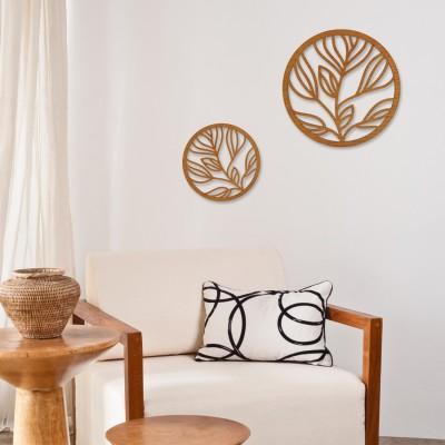 Wanddekoration Wandgestaltung Wohnzimmer [Florales im Kreis] 3D Landhaus Natur